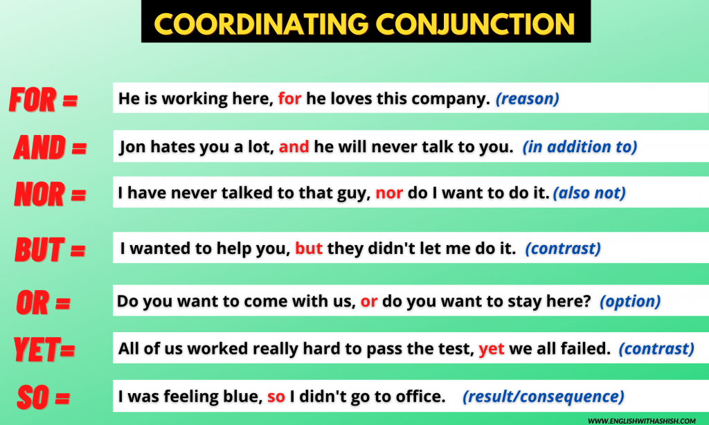 7 coordinating conjunctions examples