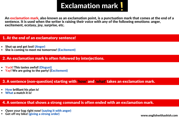 exclamation mark usages in English