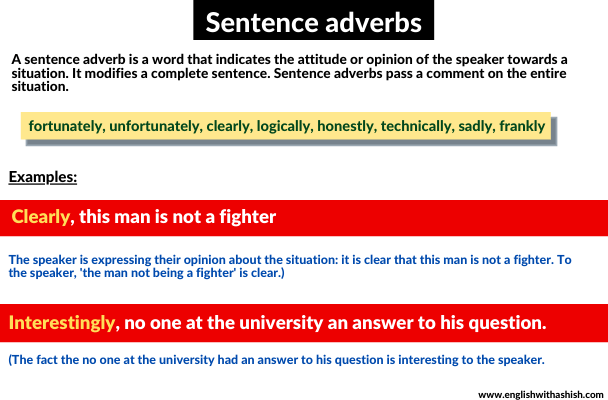 sentence adverb usages and examples